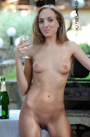 Skinny Blonde Getting Herself Drunk