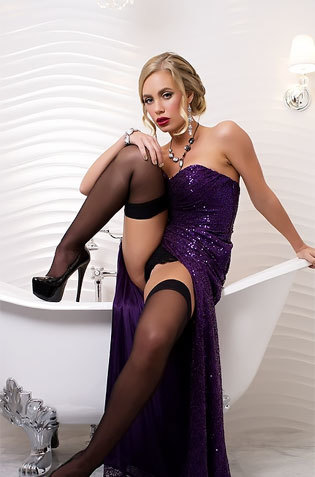 Babe On Glossy Dress Poses On Tub