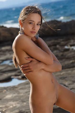 Hot Brunette Erotic Poses On Seashore