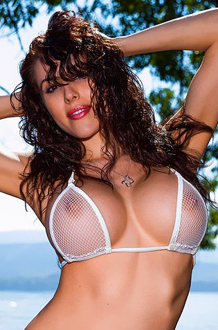 Katie Banks In White See Thru Bikini