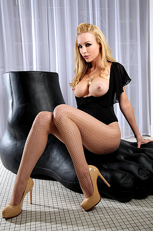 Kayden Kross Black Bodysuit And Fishnet